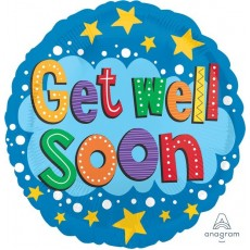 Get Well Party Decorations - Foil Balloon Stars & Brights Get Well Soon