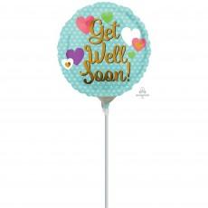 Get Well Gold & Hearts Foil Balloon