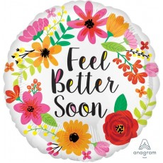 Get Well Standard HX Floral Wreath Foil Balloon