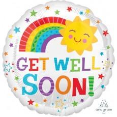 Get Well Happy Sun & Rainbow Foil Balloon