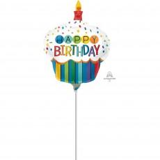 Standard HX Rainbow Cupcake Happy Birthday Shaped Balloon