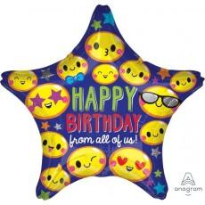 Star Emoji Standard XL Happy Birthday from all of us! Foil Balloon 45cm