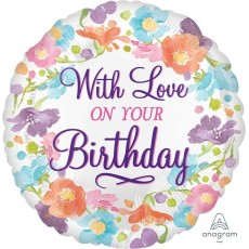 Happy Birthday Floral Watercolour Foil Balloon