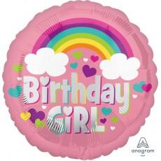 Round Standard HX Rainbow Fun Birthday Girl Foil Balloon 45cm