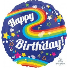 Round Jumbo HX Clourful Rainbow Fun Happy Birthday Shaped Balloon 71cm