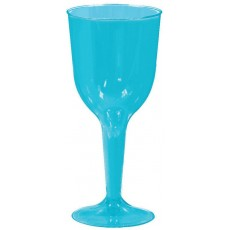 Blue Caribbean Wine Glass Plastic Glasses