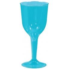Caribbean Blue Wine Glass Plastic Glasses 295ml Pack of 18
