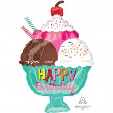 Happy Birthday Ice Cream Sundae Junior XL Shaped Balloon