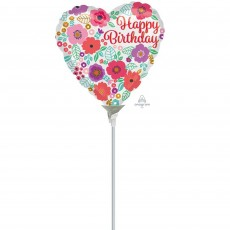 Happy Birthday Floral Print Foil Balloon