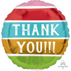Thank You Party Decorations - Foil Balloon Standard HX Striped Colours