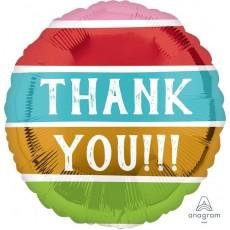 Thank You Striped Colours Standard HX Striped Colours Foil Balloon