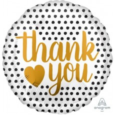 Thank You Party Decorations - Foil Balloon Modern Dots & Gold Heart