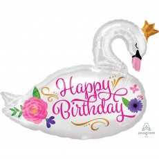 Happy Birthday Beautiful Swan SuperShape XL Shaped Balloon 73cm x 55cm