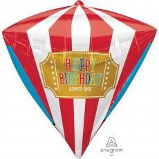 Diamondz Disney Mickey Carnival UltraShape Happy Birthday Admit One Shaped Balloon 38cm x 43cm