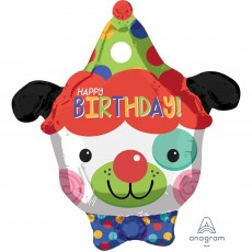 Happy Birthday Clown Dog Junior Shaped Balloon