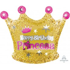Princess Junior XL Gold Crown Shaped Balloon