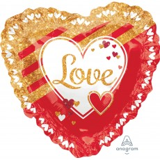 Love SuperShape XL Red & Gold Ruffle Shaped Balloon