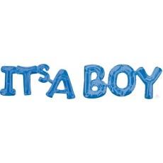 Blue Baby Shower - General CI: Script Phrase IT'S A BOY Foil Balloon 50cm x 22cm