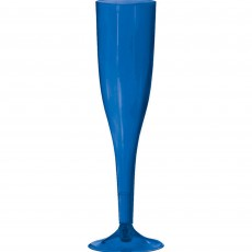 Royal Blue Champagne Flute Plastic Glasses 162ml Pack of 18