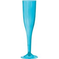 Caribbean Blue Champagne Flute Plastic Glasses 162ml Pack of 18