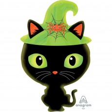 Halloween Junior XL Black Kitty Cat Shaped Balloon