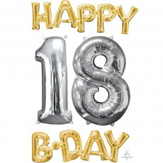 18th Birthday Gold & Silver CI: Bunch Shaped Balloon