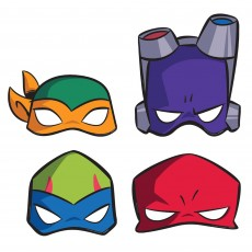 Rise of the Teenage Mutant Ninja Turtles Paper Party Masks 21.8cm x 24.6cm Pack of 8