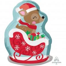 Christmas Junior Deer in Sleigh Shaped Balloon