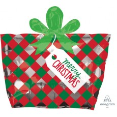 Christmas Junior Red & Green Present Shaped Balloon