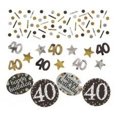 40th Birthday Black, Gold & Silver Sparkling Confetti