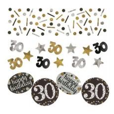 30th Birthday Black, Gold & Silver Sparkling Confetti