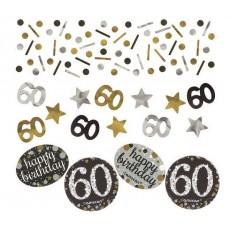 60th Birthday Black, Gold & Silver Sparkling Confetti