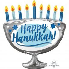 SuperShape XL Happy Hanukkah Shaped Balloon 66cm x 73cm