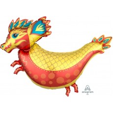 Chinese New Year SuperShape XL Fiery Dragon Shaped Balloon 96cm x 76cm