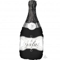 Black SuperShape Bubbly Wine Bottle Shaped Balloon 35cm x 91cm
