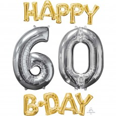 60th Birthday Silver & Gold  Foil Balloon