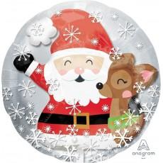Christmas Insiders Santa & Cute Deer Foil Balloon