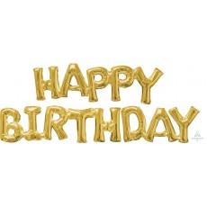 Gold CI: Script Phrase HAPPY BIRTHDAY Shaped Balloon