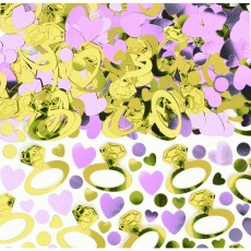 Engagement Gold & Pink Rings & Hearts Confetti