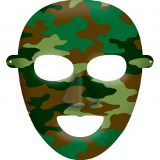 Camouflage Party Masks 16cm x 20cm Pack of 8