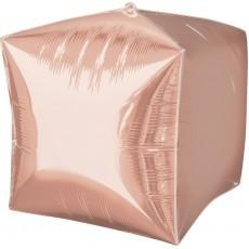 Cubez Rose Gold Pink UltraShape Shaped Balloon 38cm x 38cm
