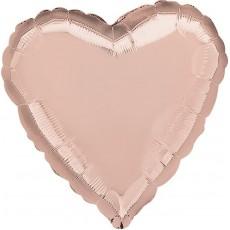 Heart Rose Gold Pink Standard HX Shaped Balloon 45cm