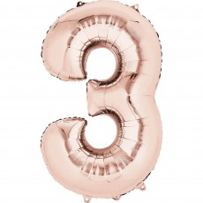 Number 3 Rose Gold  Foil Balloon