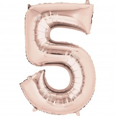 Number 5 Party Decorations - Shaped Balloon SuperShape Rose Gold 86cm