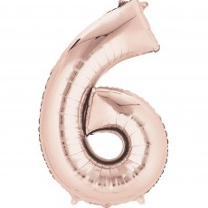 Number 6 Party Decorations - Shaped Balloon SuperShape Rose Gold 86cm