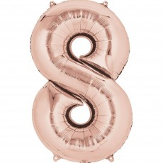 Number 8 Rose Gold SuperShape Shaped Balloon