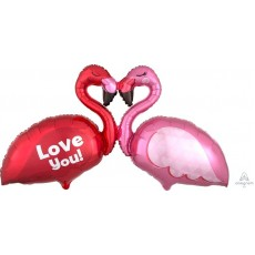 Giant Multi-Balloon XL Flamingos Love You Shaped Balloon 116cm x 63cm