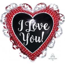 Love Silver Frill Intricates Foil Balloon