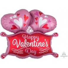 SuperShape Double Hearts Marquee Happy Valentine's Day Shaped Balloon 73cm x 63cm