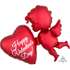 SuperShape Holographic Red Cupid Happy Valentine's Day! Shaped Balloon 86cm x 76cm